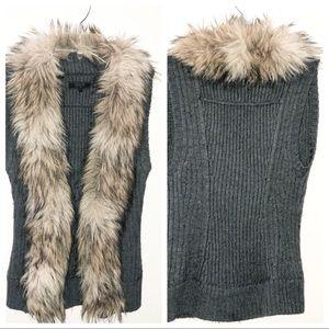 Guess Grey Faux Fur Vest Size XS
